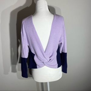 navy and purple knit sweater